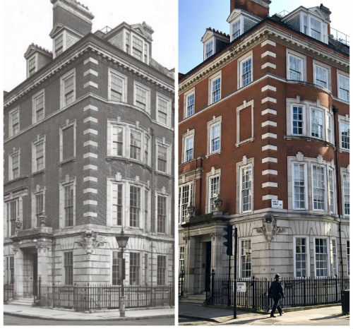 Then and now: Harley Street at the Junction with New Cavendish Street, 1917 and today. Archive image courtesy of The Howard de Walden Estate.